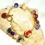 Multi Colour Gemstone Charm Bracelet Handmade Jewelry gift idea