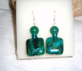 Green Chrysocolla and Turquoise Wire Wrap Earring Handmade Jewelry gift ideas