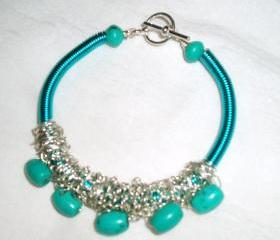 Turquoise Gemstone and Turquoise Wire Coil Bracelet Handmade Jewelry gift ideas