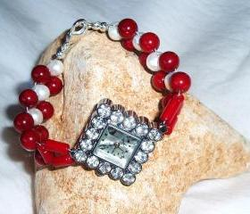 Coral and Pearl Bracelet Watch Handmade Jewelry gift idea