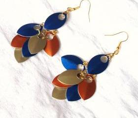 Scale Maille Multi Colour Earring Handmade Jewelry gift ideas