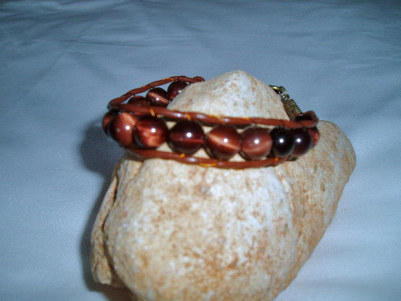 Tigers Eye Unisex Leather Bracelet