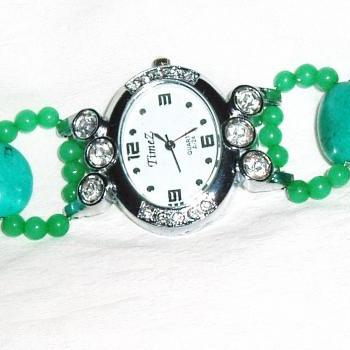 Turquoise and Agate Bracelet Watch Handmade Jewelry gift ideas
